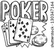 Doodle style poker card game illustration in vector format. Includes text, cards, and chips. - stock vector