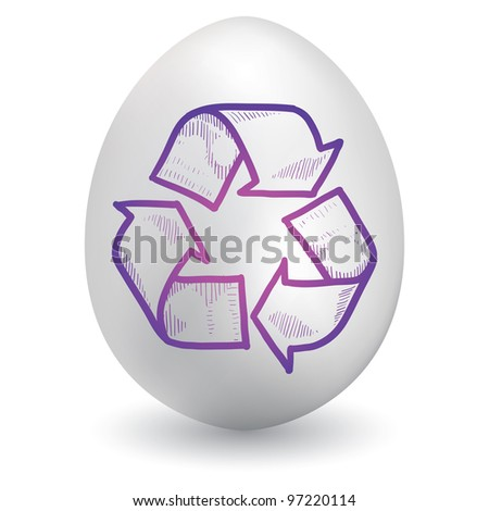 Doodle style recycling symbol sketch on decorated holiday Easter Egg in vector format