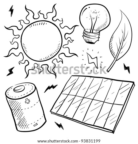 Doodle style renewable solar energy equipment sketch in vector format.  Set includes solar panel, battery, sun, light bulb, leaf, and lightning bolts. - stock vector