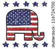 Doodle style Republican Party elephant symbol with American Flag overlay in vector format. - stock vector