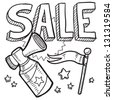 Doodle style retail sale announcement icon in vector format.  Sketch includes text, air horn, and flag. - stock vector