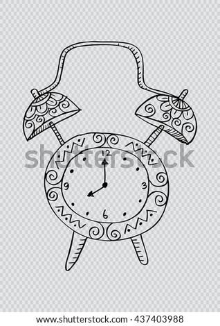 Doodle style retro alarm clock illustration in vector - stock vector