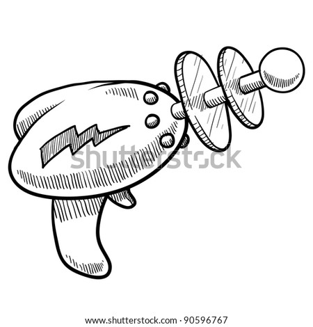 Doodle style retro alien laser or raygun illustration in vector format