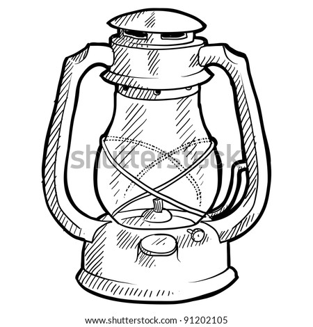 Doodle style retro camping lantern illustration in vector format suitable for web, print, or advertising use.