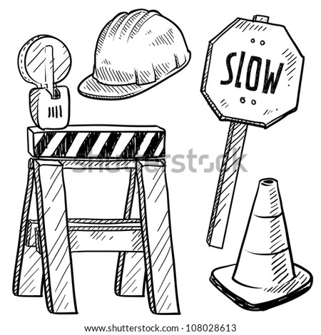 Doodle style road construction equipment sketch in vector format. Includes hardhat, sawhorse, caution warning, and slow sign.