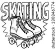 Doodle style  roller skating illustration in vector format. Includes text and skates. - stock vector