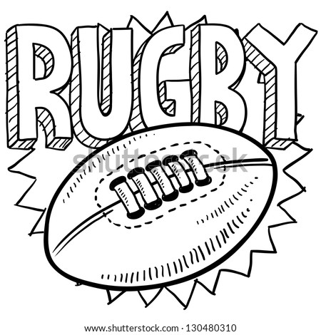 Doodle style rugby sports illustration.  Includes text and ball. - stock vector