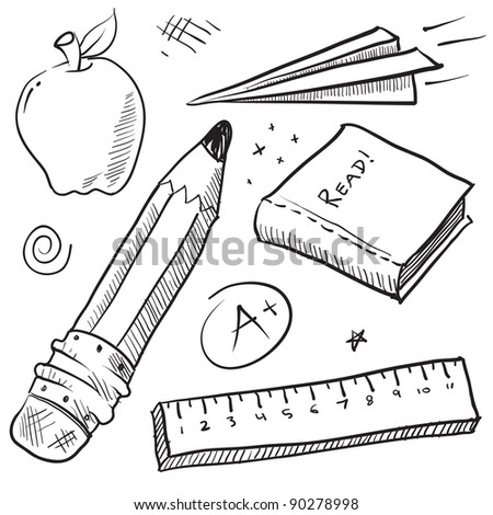 Doodle style school theme vector illustration with pencil, paper airplane, book, ruler, and apple