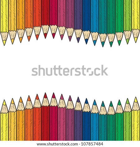 Doodle style seamless colored pencil border or background sketch in vector format. - stock vector