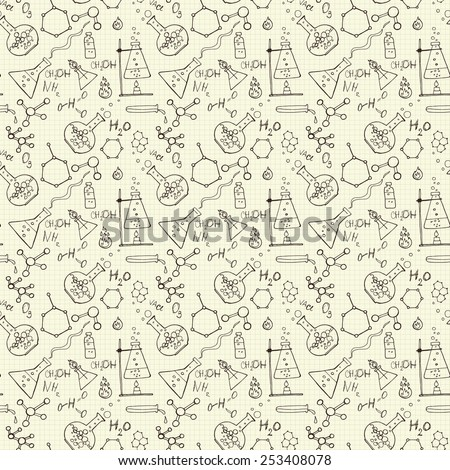 Doodle style seamless science  laborator vector background - stock vector
