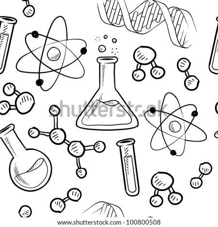 Doodle style seamless science or laborator background illustration in vector format - stock vector