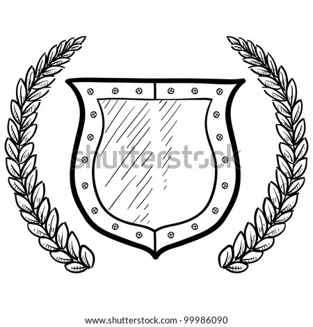 Doodle style secure or safety shield with wreath in vector format