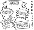 Doodle style Serve or volunteer message tags, labels, banners and arrows in vector format. Can be used as an overlay, as background, or for a sticker effect on web or print materials. - stock vector