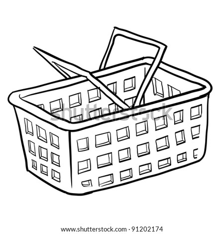 Doodle style shopping basket illustration or e-commerce icon in vector format suitable for web, print, or advertising use. - stock vector