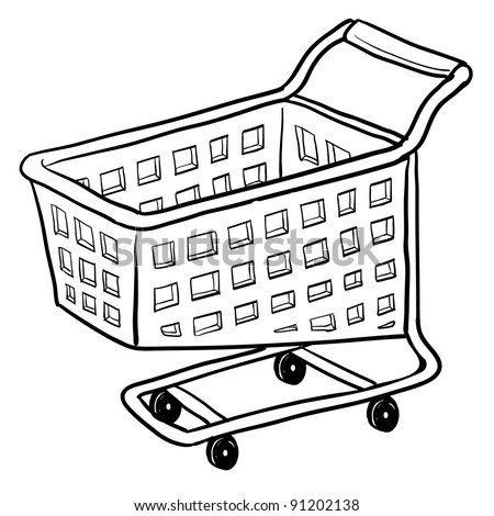 Doodle style shopping cart illustration or e-commerce icon in vector format suitable for web, print, or advertising use. - stock vector