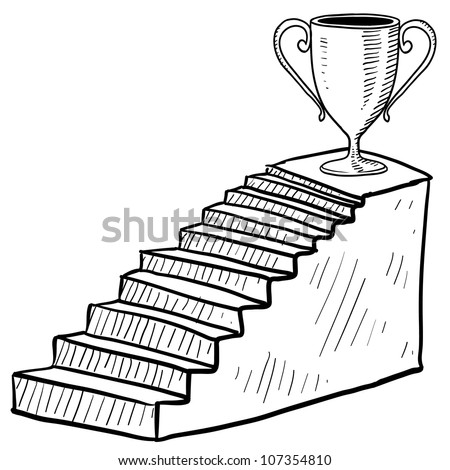 Doodle style sketch of a staircase to success including dais and trophy in vector illustration. - stock vector