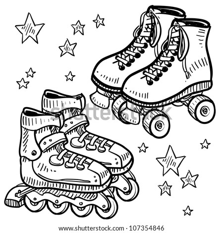 Doodle style sketch of rollerskates and rollerblades in vector illustration.