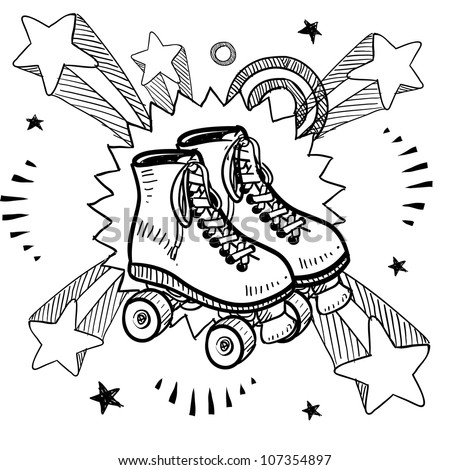 Doodle style sketch of rollerskates on pop explosion background in 1960s or 1970s style in vector illustration.