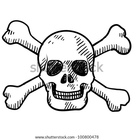 Doodle style skull and crossbones illustration in vector format