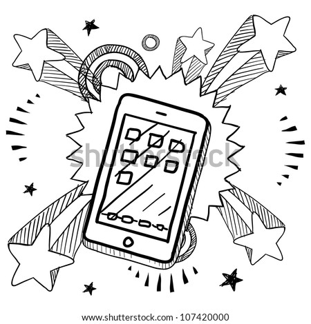 Doodle style smartphone or mobile device sketch on 1960s or 1970s pop explosion background. - stock vector