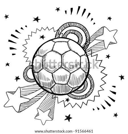 Doodle style soccer or futbol sports illustration in vector format with retro 1970s pop background - stock vector