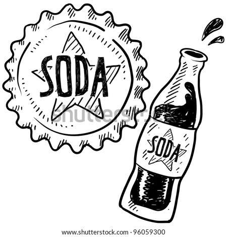 Doodle style soda bottle with cap illustration in vector format - stock vector