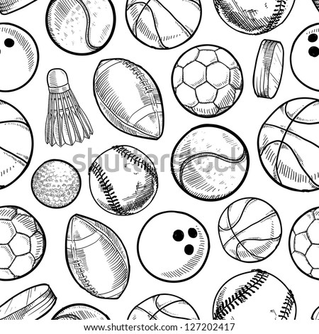 Doodle style sports equipment seamless vector background ready to be tiled.