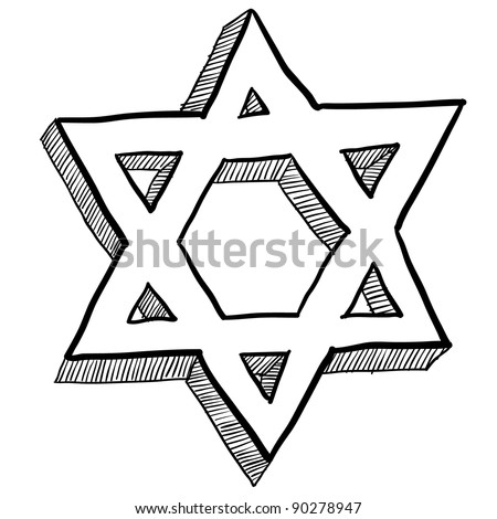 Doodle style Star of David Jewish religious symbol vector illustration - stock vector
