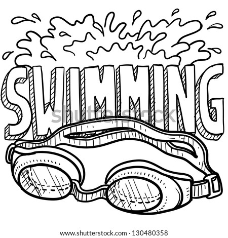 Doodle style swimming sports illustration.  Includes text and goggles. - stock vector
