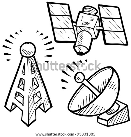Doodle style telecommunications sketch in vector format.  Set includes satellite dish, cell tower, and space satellite. - stock vector