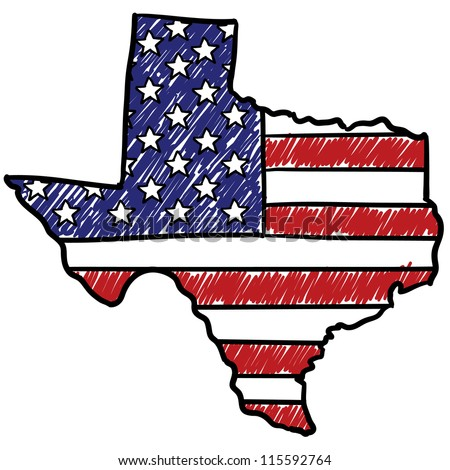 Doodle style Texas is America illustration in vector format. - stock vector