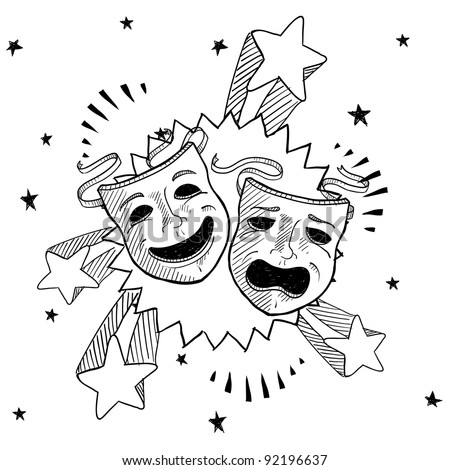 Doodle style theater or drama masks illustration in vector format with retro 1970s pop background