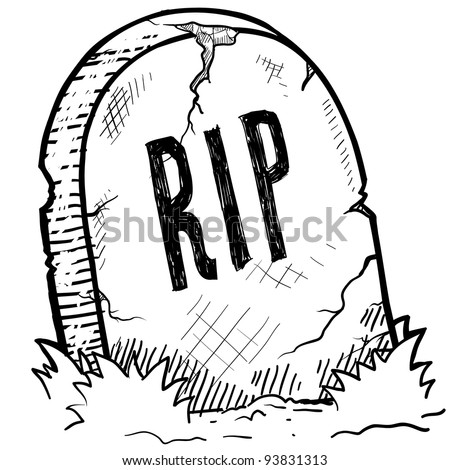 Doodle style tombstone with RIP engraving sketch in vector format - stock vector