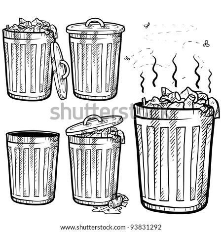 Doodle style trash can sketch in vector format.  Set includes garbage cans in a variety of states - stock vector