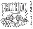 Doodle style triathlon illustration in vector format.  Includes text and swimming goggles, bicycle, and running shoes. - stock vector