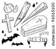 Doodle style vampire lore set in vector format.  Includes coffin, stake, garlic, crucifix, bat, and bloody fangs. - stock vector