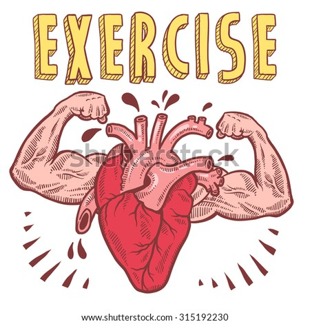 Doodle style vector drawing of a muscular heart announcing exercise with hand drawn text. - stock vector