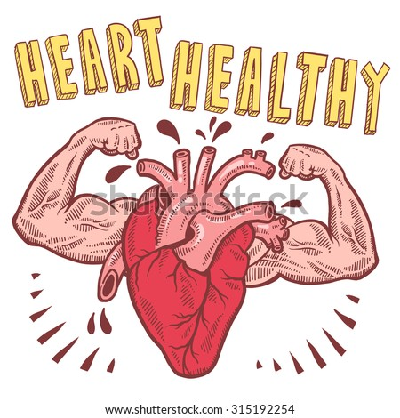 Doodle style vector drawing of a muscular heart announcing heart healthy with hand drawn text. - stock vector