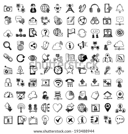 doodle style vector icons of communication , isolated  white background. - stock vector