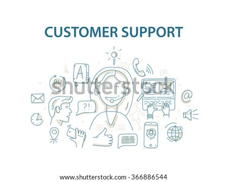 Doodle style vector illustration concept for customer support service - stock vector