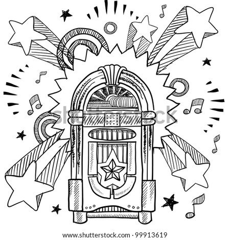Doodle style vintage jukebox with 1970s style pop explosion background