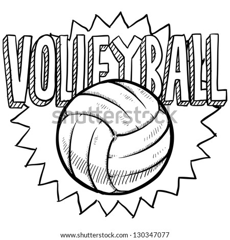 Doodle style volleyball illustration in vector format. Includes text and ball.