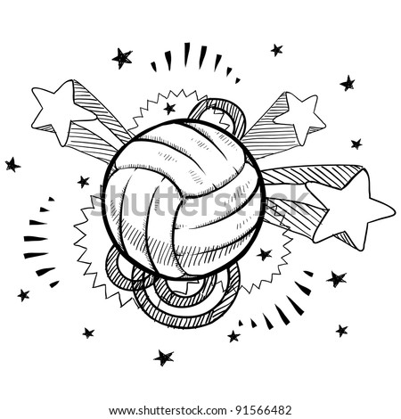 Doodle style volleyball sports illustration in vector format with retro 1970s pop background