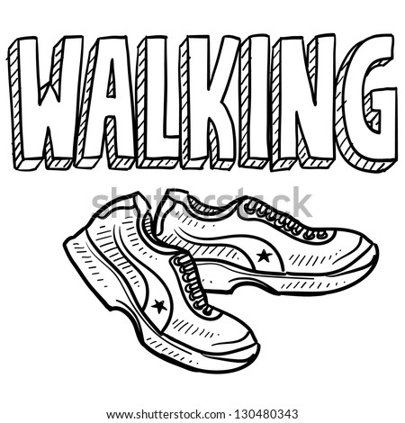 Doodle style walking sports illustration.  Includes text and tennis shoes.