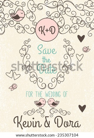 Doodle Style Wedding Invitation with Love Birds and Monogram - stock vector