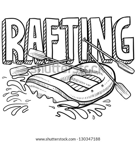 Doodle style whitewater rafting illustration in vector format. Includes text and raft.