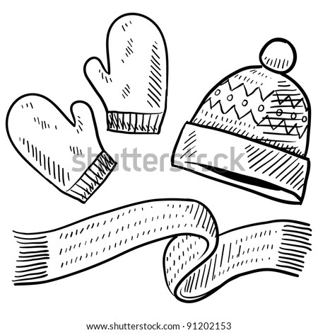 Doodle style winter clothing illustration in vector format suitable for web, print, or advertising use. Includes mittens, scarf, and stocking cap. - stock vector