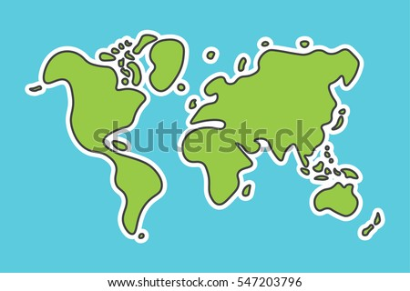 Doodle Style World Map Look Like Stock Vector (Royalty Free ...