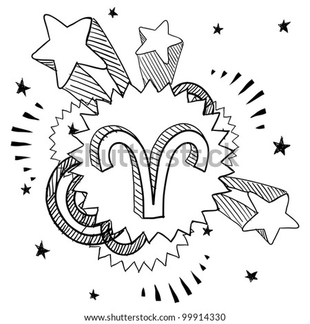 Doodle style zodiac astrology symbol on 1960s or 1970s pop explosion background - Aries - stock vector