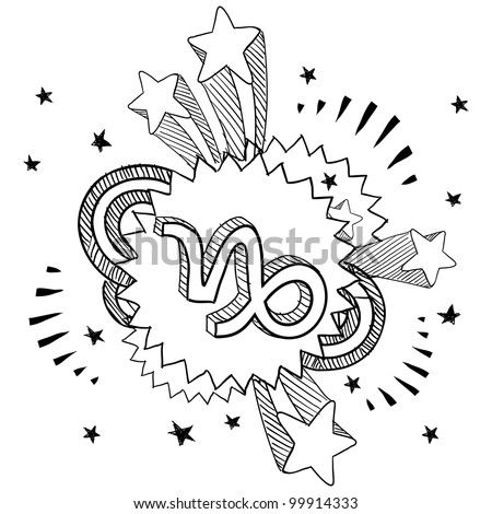 Doodle style zodiac astrology symbol on 1960s or 1970s pop explosion background - Capricorn